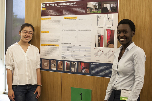 Two students with a poster presentation at the 2016 Undergraduate Symposium
