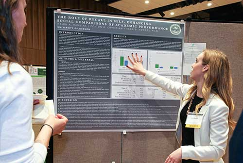 A student presenting her poster at the 2017 Undergraduate Symposium